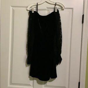 Velvet/lace off-shoulder dress